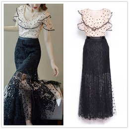 Discount long sleeve ruffled lace blouse - Designer Women Dress Set 2019 Fashion Style Ruffled Collar Blouse Tops And Long Lace Gauze Skirts Two Piece Party Cockta