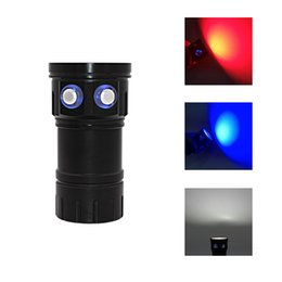 20000lm linterna de luz fuerte blanco rojo azul luz recargable LED linterna de buceo para 18650 batería Video fotografía luz