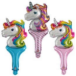 $enCountryForm.capitalKeyWord Australia - 50pcs  Hand-held Unicorn Balloons Cartoon Balloon Stick Pat On The Hand Wand Toy Gift For Children Birthday Party Decor Wholesal Y19061704