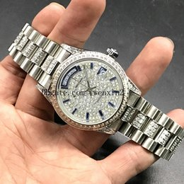 Diamond Man Watch Sale Australia - 1 Color Luxury Watch Blue Straight Diamond 36mm Mans Or Woman Hot Sale Silver President Day Date Watches Little Red Dots 2813 Automatic