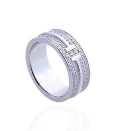 $enCountryForm.capitalKeyWord UK - Fashion Luxury Titanium Steel Jewelry Wholesale Double T Studded Diamond Ring 18K Gold love ring for women men gift