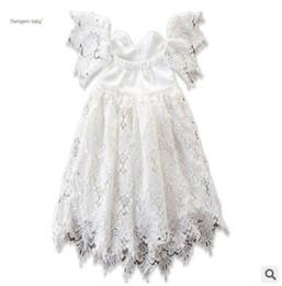 Childrens wedding dresses wholesale online shopping - Baby Girl Designer Clothes Off Shoulder Lace Dresses Summer Sleeveless Lace Dress Toddler Kids Party Wedding Dress Childrens Dress
