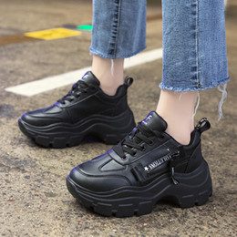 black platform court heels Australia - Rimocy Black Leather Shoes Woman Fashion Lace Up Chunky Platform Sneakers Women Thick High Heels Waterproof Vulcanize Shoes Lady SH190930