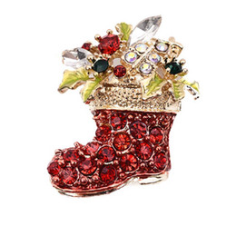wholesale rhinestone brooches UK - 10 PCS LOT creeative Red Shoes Brooches For Women Vintage Female Red Boots Brooches Pins Zinc Alloy Rhinestone Brooch Gifts FREE SHIPPING