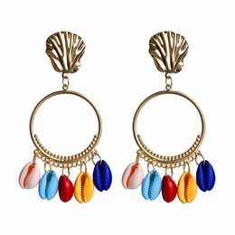 $enCountryForm.capitalKeyWord Australia - New Arrival Seaside Holiday Romantic Shell Earrings Creative scallop Vintage Metal Hoop Dangle Earrings with Charms Woman Jewelry