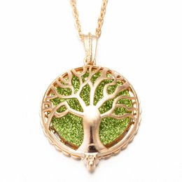 $enCountryForm.capitalKeyWord Australia - 2019 Aroma Diffuser Necklace Bright Gold Color Tree Pendant Perfume Essential Oil Small Box To Send Sequins As A Gift EM-4