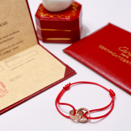 France C Início 19ss Mais Recente das Mulheres Corda Vermelha Pulseira Carta de Amor Rosa de Ouro de Prata Charme Pulseiras venda por atacado