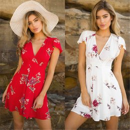 $enCountryForm.capitalKeyWord Australia - Floral Womens Printed Loose Mini Dress New Ladies V-neck Summer Dresses Stylish Short Sleeve Evening Party Dress Vestidos designer clothes