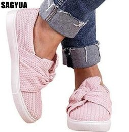 Discount woven rubber - Spring Women flat shoes Bow Loafers ladies Round head Mesh Thick bottom Weaving shallow Casual shoes big size woman Z106