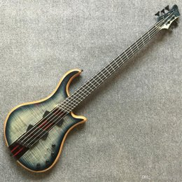 Free ShippingCustom shop TOP quality multi-scaled 5 strings neck through fanned fretted Bass electric bass active pickup guitar