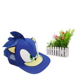 detailed pictures 5bc16 37db9 10 pcs lot Sonic The Hedgehog Adjustable blue Baseball Hat Cap Cartoon  Summer Hat Plush Toy One Size Hot Selling Christmas Gift