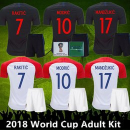 Wholesale Top Quality World Cup Adult Kit VIDA REBIC RAKITIC Hrvatska LOVREN Soccer Jersey Luka modric Voetbal croazia Football Shirts MANDZUKIC