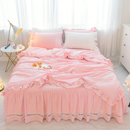 princess kids beds UK - Pink white grey korean princess bed skirt duvet cover set 100%cotton bedding sets twin queen king size girls kids bedding sets