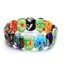 $enCountryForm.capitalKeyWord Australia - Colored Glaze Glass Charm Bracelet Elastic Rope Multi Color Flower Bead Bracelet handmake Friend Lover Women Fashion Jewelry Gift Brand New