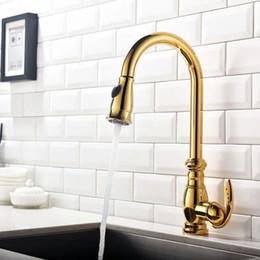 Kitchen Faucet Gold Australia - PVD GOLD High Arc pull out kitchen spray faucet mixer tap Single hole deck mount Swivel Spout