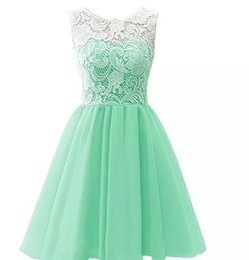 China Hot Sale Simple Mint Green Chiffon Cocktail Party Dresses Scoop Short Prom Sleeveless A Line Above Knee Graduation Vestidos Custom Made cheap coral above knee dresses suppliers