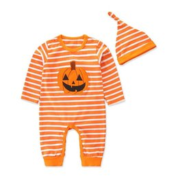 newborn pumpkin hat UK - Ins Hallowmas pumpkin baby rompers newborn romper Baby Infant Boy Clothes newborn baby girl clothes girls romper+hat headband