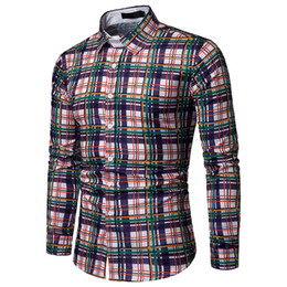 c7f0810fff Hot Sale Colorful Striped Shirts High Street Male Plaid Long Sleeve  Handsome Boy Club Clothing Plaids Blouse Plus Size