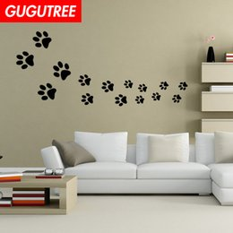 $enCountryForm.capitalKeyWord Australia - Decorate Home dogs paw cartoon art wall sticker decoration Decals mural painting Removable Decor Wallpaper G-1863