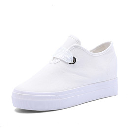 1f88e0714d02 White Wedge Sneaker Woman Platform Canvas Sneakers Hidden Heel Casual Shoes  Women Height Increasing Spring Black Platforms Vulcanized Shoes