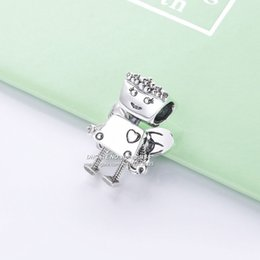 Sterling Silver Oval Beads Australia - 2019 Spring NEW 925 Sterling Silver Robot Charm beads Fits All European pandora DIY Bracelets Necklaces