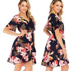 Wholesale french style dresses fashion for sale – plus size Evening dress Yousef aljasmiLarge high waist fashion skirt spring French V neck new temperament women s short sleeve dress women