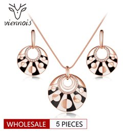 SetS viennoiS online shopping - Viennois Rose Gold Color Round Jewelry Sets for Women Earrings Pendant Necklace Set Black and White Jewelry