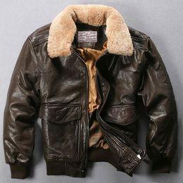 664f12b1427 Avirex Fly Flight Jacket Fur Collar Genuine Leather Jacket Men Black Brown  Sheepskin Coat Winter Bomber Male