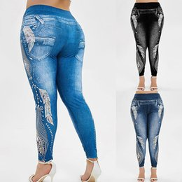 women wearing tight yoga pants NZ - Vertvie Plus Size S-3XL Women High Waist Yoga Pants Jeans 3D Printed Fitness Leggings Slimming Gym Sports Tights Running Wear