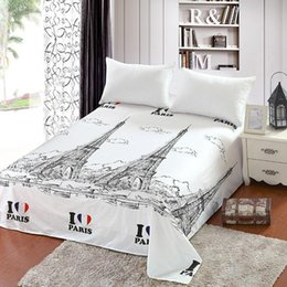 bedsheets bedding Australia - Paris Tower Bed Sheets Home Textile Bedding Coverlet Flat Sheet Stripes Bed Sheet Soft Warm Bedsheets