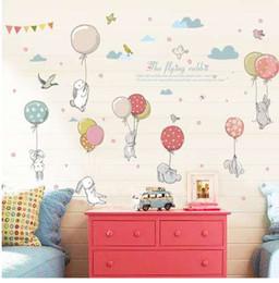Toptan satış Karikatür diy süper sevimli balon tavşan duvar sticker için çocuk odası kuşlar bulut dekor mobilya dolap yatak odası oturma odası çıkartması