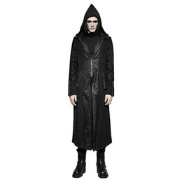 $enCountryForm.capitalKeyWord Australia - Punk Hooded Long Men Trench Coat Belt Cross Leather Stitching Lengthened Jacket Windproof Zip Pocket With Zipper Cuffs