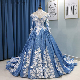 glitter evening gowns Canada - Luxury Lace Beaded High Neck Ball Gown Prom Dresses Spark Glitter Saudi Arabic Light Blue Women Evening Gowns Robe De Soiree