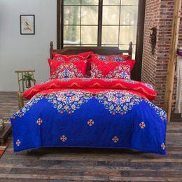 Bedsheet Cotton White Australia - COMFEEL Colorful Ethnic Fashion 3 4pcs of Bedding Sets Luxury Pillow Cases Cotton Bedsheet Duvet Cover Full Size Comforter Set