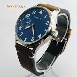 6497 watch case online shopping - Corgeut mm mens top watch silver case leather strap Jewels mechanical hand winding movement luminous sport watches