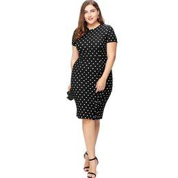 d34408f727 Women Vintage Dot Print Pencil Dress Short Sleeve O-Neck Stretchy Slimming  Party Dress Knee-Length Bodycon Plus Size Dress 2019