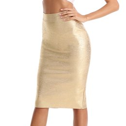 e485568dff Women Summer Bandage Skirts 2018 Autumn High Waist Elastic Pencil Skirt  Female Bodycon Skirts Knee Length Ladies Office J190427