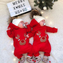 991f1009368 Newborn Infant Christmas Baby Girl Boys Rompers Jumpsuit Clothes Outfits  Hooded Xmas Deer Baby Clothing Costume
