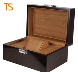 Опт высокое качество деревянные часы коробка черные часы коробки подарочная коробка Корона логотип деревянная коробка с брошюрами карты блеск LSL0130
