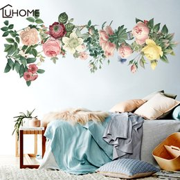 wall stickers romantic flower Australia - Large 115x50cm Elegant Flower Leaf Graceful Peony Wall Stickers Furnishings Romantic Living Room Decoration Q190522