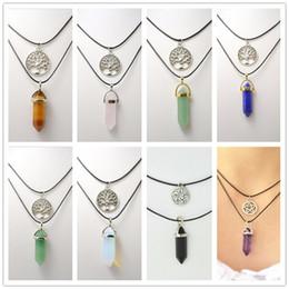 $enCountryForm.capitalKeyWord Australia - Double Layers Leather Stone Necklace Jewelry Hexagon Prism Healing Crystal Tree of Life Charms Star Amethyst Rose Quartz Chakra K3770