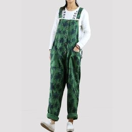 green jumpsuits Australia - 2018 Summer Korean Fashion Plus Size Overalls Loose Wide Leg Pants Women Green Pink Blue Washed Leaves Print Jumpsuits