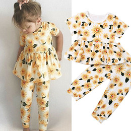 $enCountryForm.capitalKeyWord UK - New Flower Kids Baby Girls Summer Clothes Sunflower Ruffle T-shirt Tops+Long Pants Leggings Toddler Kids Clothes Cute Outfits