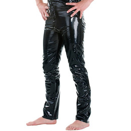 Popular Brand Plus Size Black Sexy Gay Men Skinny Pvc Leather Shiny Open Front Pants Trousers Nightclub Stage Performance Costumes A Wide Selection Of Colours And Designs Pants