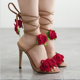 Red gladiatoR pumps online shopping - New fashion Women s high heels Red Flower Soft and comfortable Hate Women Shoes Stiletto high heel bridal Wedding Summer Shoes height cm