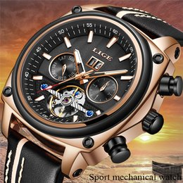 $enCountryForm.capitalKeyWord Australia - LIGE Mens Watches Top Brand Luxury Sport Watch Men Leather Waterproof Automatic Mechanical Watch Relogio Masculino+Box