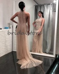 pageant little sexy girl dresses Australia - Mermaid Champagne Prom Dresses With Wrap Sexy Backless Arabic Formal Evening Dresses Elegant 2020 Pearls Pageant Gown Black Girls Prom Dress