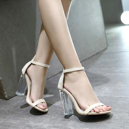 3248bf664e4 Block heel shoes sexy online shopping - New Sandals Women Summer Sexy Clear  High Heels Open