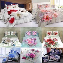White Rose Pattern Australia - New Scenic Rose 3D Sanding Flower Pattern Bedding Set Quilt Case Bed Sheets Pillow Case 4PCS Set