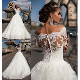 appliques style wedding dresses NZ - Modest A Line Wedding Dresses Sheer Appliques Back Lace Country Style Chic Bridal One Word shoulder white ball Gown Custom Made Hot Sale